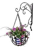Pared colgantes macetones Soporte + macetones, hierro pared colgantes Flores Estantería Set para terraza y jardín decoración, Negro