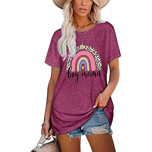 Camiseta Mujer Larga Suelta Cómoda Moda Estampado De Arco Iris Cuello Redondo Manga Corta Verano Citas Vacaciones Casual Mujeres Tops G-Purple M