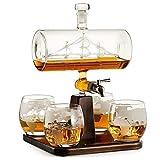 Decantador de Whisky Ron Blanco, Decantador, Decantador de Vino Blanco 1000 Ml, con Taza de 4 Bolas, Hermosa Base de Madera, Juego de Vasos de Chupito de Scotch y Vodka