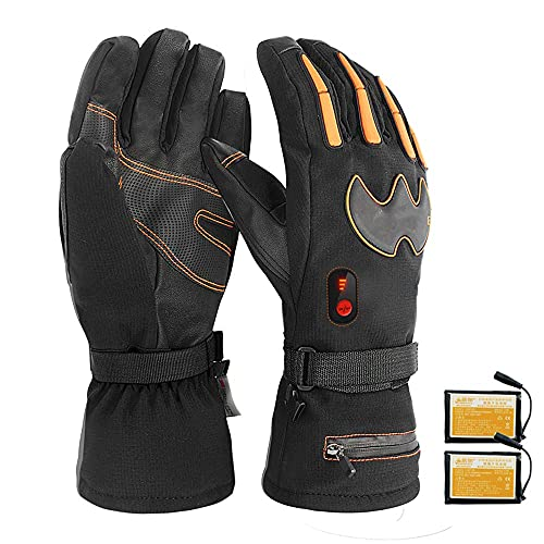 QMJHHW Winter Heated Gloves, Electric Battery Heated Gloves, Rechargeable Battery Gloves, Waterproof & Adjustable Temperature, for Outdoor, Skiing,XL