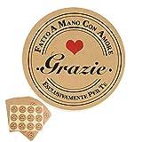 FLOFIA (Dia. 4cm) 300pz Adesivi Grazie Fatto a Mano con Amore Etichette Adesive Stickers Thank You Handmade with Love in Italiano Personalizzati Rotondi per Compleanno Matrimonio Bomboniere (25 Fogli)