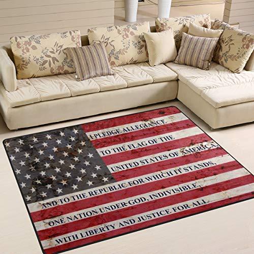 Naanle Alfombra antideslizante para sala de estar, comedor, dormitorio, cocina, 150 x 200 cm, diseño retro de la bandera de Estados Unidos