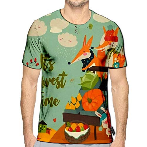 3D Printed T-Shirts Cute Foxes with Wheelbarrow Fruits and Vegetables in Autumn Forest Short Sleeve Tops Teese