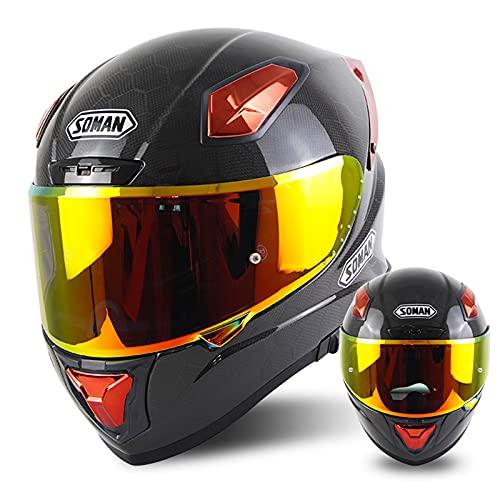 Casco De Motocicleta De Fibra De Carbono Casco De Bicicleta De Calle De Motocross Abatible De Cara Completa Aprobado Por DOT/ECE Con 2 Salidas De Aire Agrandadas De Visera,Red b,L