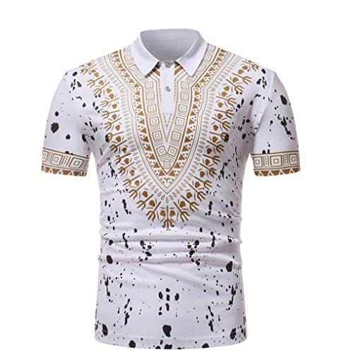 Shirt Herren Kolylong® Herren Beiläufig Drucken Polo Shirt Kurzarm Slim Fit Persönlichkeit Hemd Funny Strand T-Shirt Bunt Hawaiihemd Polohemden Button Down Freizeit Top Pulli Pullover (M, Weiß)