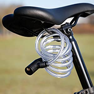 Ultrasport Candado en espiral para bicicleta con 2 llaves, candado de cable en espiral, 150 cm de largo, ideal para proteger accesorios como el casco, el sillín y más, para todo tipo de bicicletas