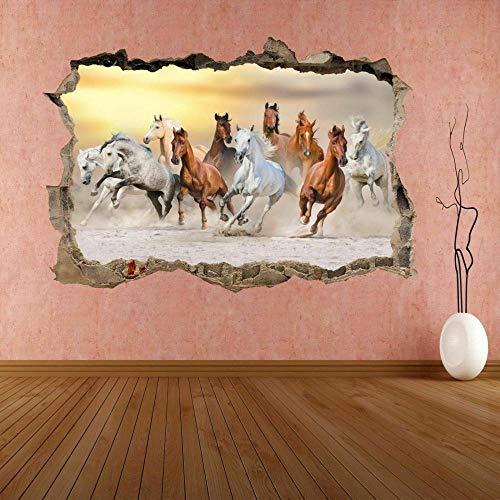 Adhesivo de Pared con efecto 3D Breakthrough Autoadhesivo Horses Running 20x27inch(50x70cm) Etiqueta Engomada de la Pared del Cuarto de baño Etiqueta Engomada de DIY del Refrigerador