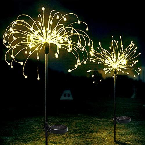 Paquete de 2 luces solares para exteriores, decorativas para jardín, luces de...