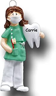 Personalized Female Dental Hygienist Christmas Ornament Dentist Dental Assistant in Scrubs Holding Tooth Toothbrush Gift - Your Choice Custom Name