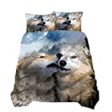 Suncloris 3D Animal Decorative Wolf Couple Printed Duvet Cover Sets Luxury Mammal Wildlife Wolves Bedding Quilt Cover with Pillowcases for Kids Teen Adult Bedspread Cover (02, Queen)