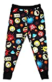 Men's Emoji Fashion Jogger Jogging Sweat Pants (Large, Black)