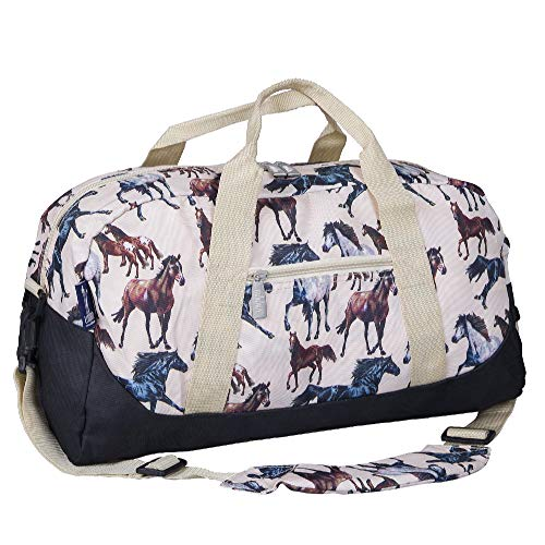 Wildkin Kids Overnighter Duffel Bags for Boys & Girls, Measures 18 x 9 x 9 Inches Duffel Bag for Kids, Carry-On Size & Ideal for School Practice or Overnight Travel, BPA-free (Horse Dreams)