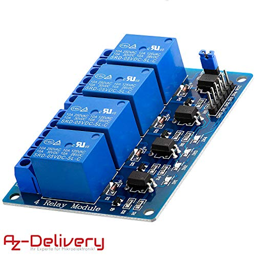 AZDelivery Modulo 4 Relé 4 Channel Relay 5V con Optoaccoppiatore per Arduino con eBook