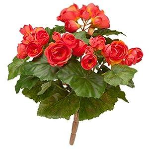 "OakRidge Silk Begonia Bush – Artificial Flowers Outdoor Décor, 10"" Long"