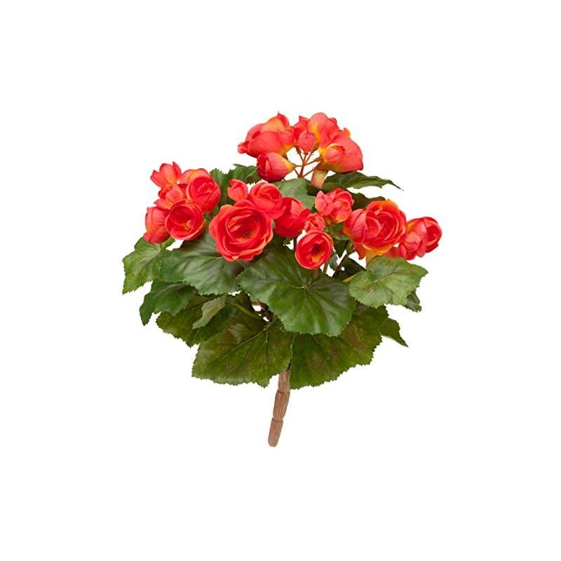 """silk flower arrangements oakridge silk begonia bush – artificial flowers outdoor décor, 10"""" long"""