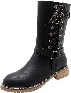 RAZAMAZA Women Casual Autumn Flat Boots Mid Calf Boots Zipper