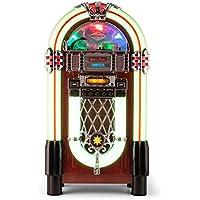 AUNA Graceland XXL Jukebox Vintage - Bluetooth , Reproductor CD , Puerto USB , Tarjetas SD/MMC , Compatible MP3 , Rockola Discos , Entrada AUX , Radio FM , Ecualizador , Diseño Original