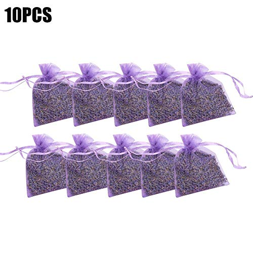 Ranget 10 Pcs Scented Lavender Bag Air Freshener Cabinet Filled With Naturally Dry Lavender Flower Buds for Wardrobe Drawers (Light Purple)
