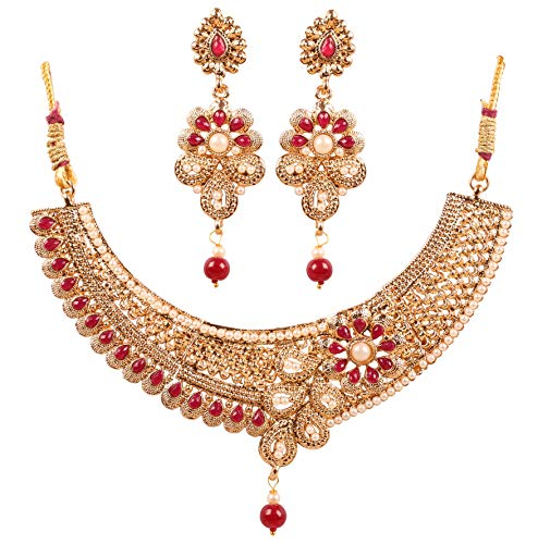 Touchstone New Indian Bollywood Desire Pretty Royal Studded Look Fine Paisley Motif Faux Ruby Pearls Designer Jewelry Bridal Necklace Set in Gold Tone for Women.