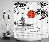 LB Japanische Rote Sonne Duschvorhang 180x180cm Bambus & Koi Antischimmel Wasserdicht Badezimmer Gardinen, Schwarz & weiß Polyester Stoff Bad Vorhang mit Haken