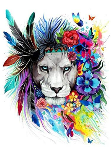 Pintar por Numeros para Adultos Niños Flor de león DIY Pintura al óleo con Pinceles y Pinturas 16 x 20 Pulgadas / 40 x 50 cm Sin Marco Decoración hogareña