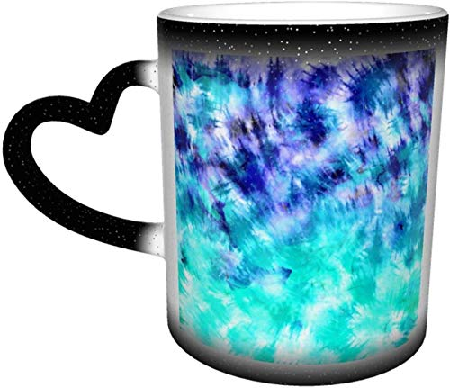 Moderne Boho Blue Türkis Aquarell Krawatte Farbstoff Muster Wärmeempfindliche Farbe ändern Becher im Himmel Kaffeetassen Keramik Tasse personalisierte Geschenke für...