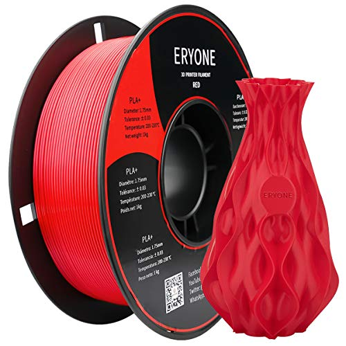 ERYONE PLA+ 3D Printer Filament, Dimensional Accuracy +/- 0.05 mm 1kg (2.2LBS)/Spool, 1.75mm, Red
