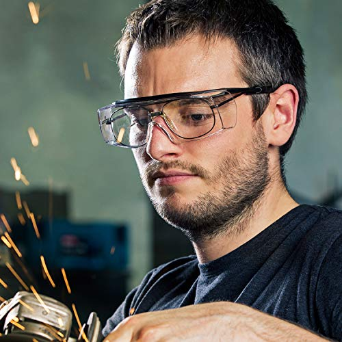 NoCry Over-Glasses Safety Glasses - with Clear Anti-Scratch Wraparound Lenses, Adjustable Arms, Side Shields, UV400 Protection, ANSI Z87 & OSHA Certified