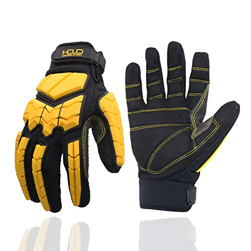 Anti Vibration Work Gloves, SBR Fingers & Palm Padded Work Gloves, Men Safety Impact Reducing Gloves (Large)