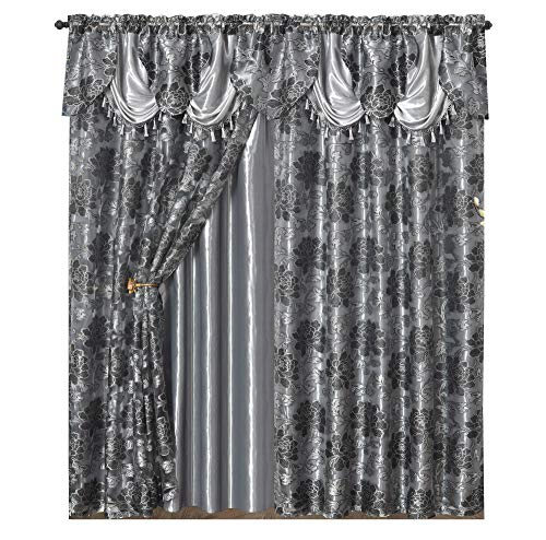 Royal ROSARIUM. Clipped Voile. Voile Jacquard Window Curtain with Attached Fancy Valance and Taffeta Backing. 2pcs Set. Each pc 54 inch Wide x 84 inch Drop + 18 inch Valance. (Grey)