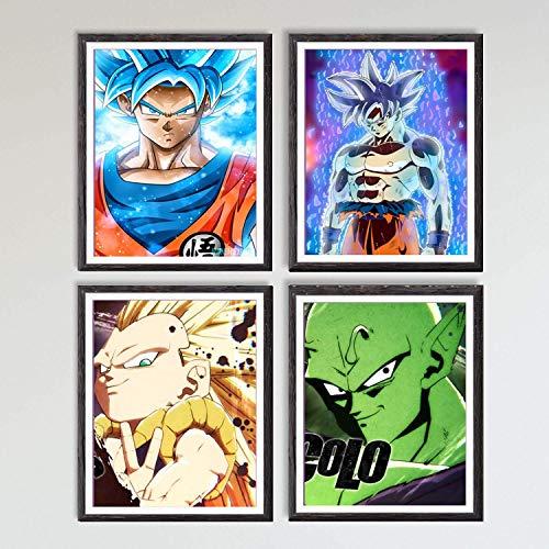 MS Fun Lienzo decorativo de anime japonés Ultra Dragon Ball Super Saiyan Son Goku Piccolo Gotenks (20,3 x 25,4 cm, sin marco, 4 unidades)