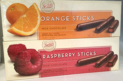 Sweet's Milk Chocolate Raspberry and Orange Sticks
