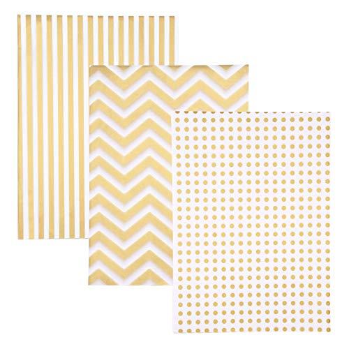 Papel de seda metálico, 30 hojas de papel de seda dorado a granel, papel de seda de 3 estilos decorativo metálico para Navidad, cumpleaños, boda, bolsas de regalo, decoración de 50 x 70 cm