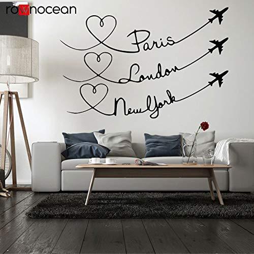 BLOUR Paris London New York Liebe Reise Zitat Wandtattoo Interior Home Decor Wohnzimmer Vinyl Cut Aufkleber Abnehmbares Wandbild 3367