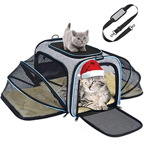 OMORC Erweiterbare Transporttasche Katze, die meisten Airlines genehmigte Tragetasche Katze,...