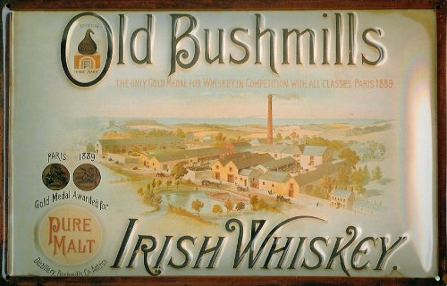 hi Alt Bushmills Whisky 400 Jahre Mini Metall Schild//Postkarte 110mm x 80mm