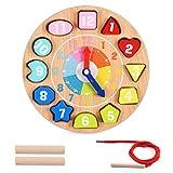 OMZGXGOD Giochi Legno Montessori,Orologio educativo in Legno,Giocattolo Bambino Montessori Giocattoli de Puzzle in Legno 4 in 1 Regalo Educativi Giochi per Bambini 3 4 5 6 Anni