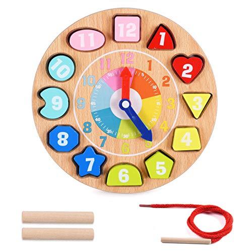 OMZGXGOD Reloj de Aprendizaje de Madera,Reloj de Madera Educativo, Rompecabezas de enseñanza, Reloj,Reloj Aprender la Hora niños, niñas, Juguete de Aprendizaje