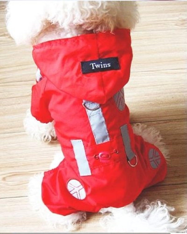 Red Dog Raincoat Jacket, Dog Rain Jacket, Designer Rainy Days Dog Slicker for the Best Fashion Pets (L)