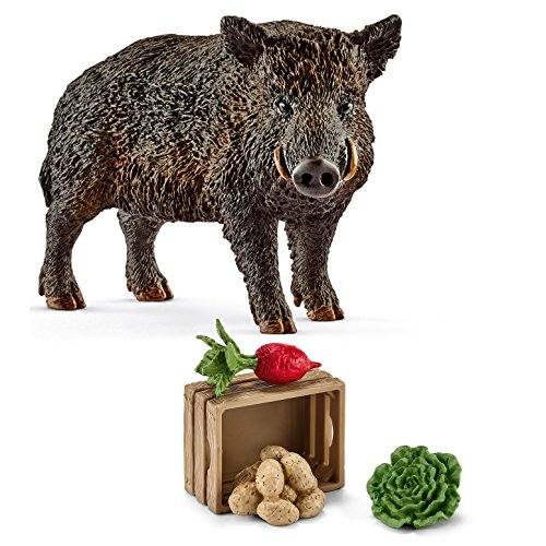 Schleich - 14783 Wildschwein + 42289 Futter für Schweine und Ferkel