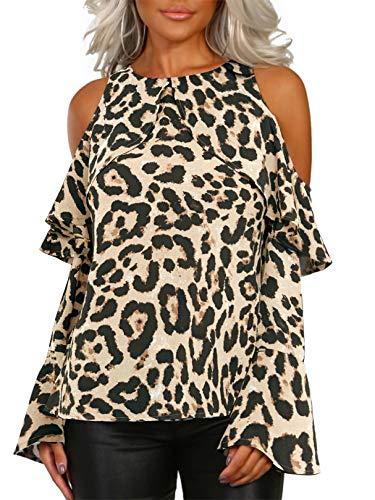 YOINS Sexy Oberteil Damen Schulterfrei Off Shoulder Bluse Langarm Top Sexy Leopard Oberteile für Damen