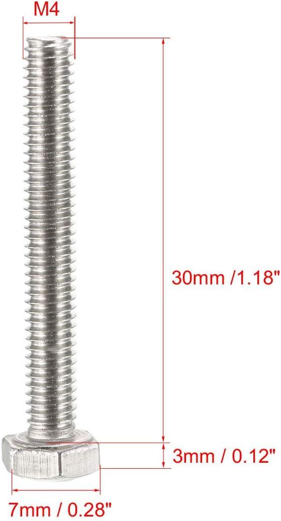 bulloni esagonali M4 M4-0,7 x 12 mm Sourcingmap completamente filettate in acciaio inox 304 50 pezzi viti a testa esagonale UNC