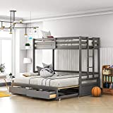 Twin Over Twin/Full/Queen/King Bunk Bed ,New Version Wooden Bunk Bed with Drawers ,Extendable Pull-Out Bunk Bed ,Convertible to Daybed and Loft Bed , Functional Twin Bunk Bed ,Grey