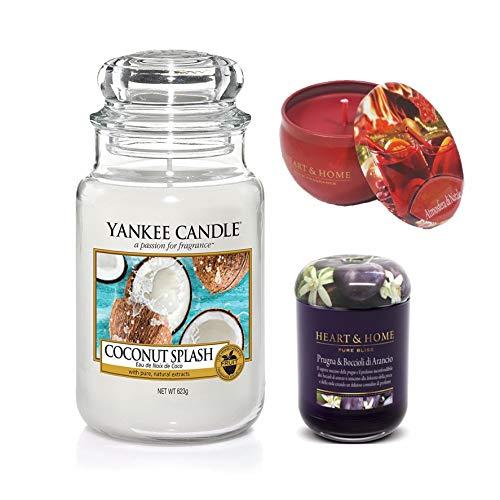 Yankee Candle Coconut Splash 1 H&H in la, Bianco,Lilla, 623gr+115gr+125gr