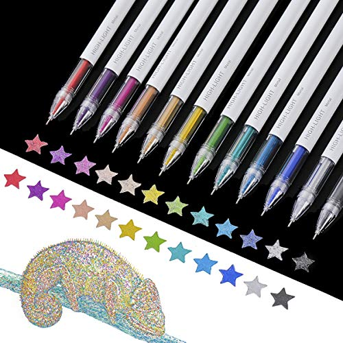 PANDAFLY Metallic Gel Pen, Assorted Color Ink, Fine Point Metallic Liquid Gel Pen for Adult Coloring Books, kid Doodling, Drawing, Bullet Journaling, 0.6 mm Tips Art Markers (Set of 12)