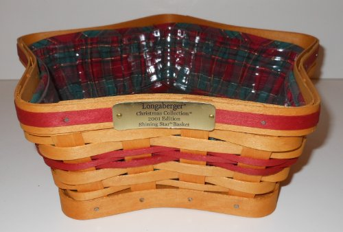 Longaberger Retired 2001 Christmas Collection Shining Star Basket Set - Includes Basket, Liner, Protector!