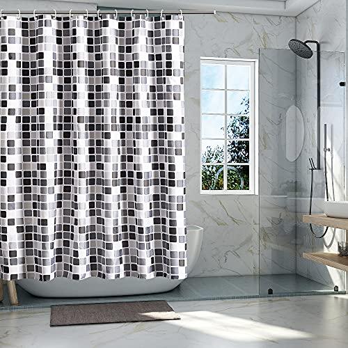 YushengTai Cortina de ducha, cortina de baño impermeable duradera de fibra de poliéster con 12 ganchos, cortina de baño decorativa para hoteles, lavable a máquina, 200 x 220 cm