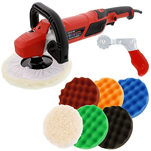 TCP Global 7' Professional High Performance Variable Speed Polisher with a 6 Pad Buffing and...
