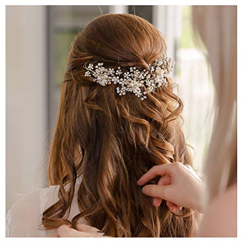 SWEETV Perle Haarschmuck Hochzeit Blume Haar Schmuck Silber Stirnbänder Kristall Diadem