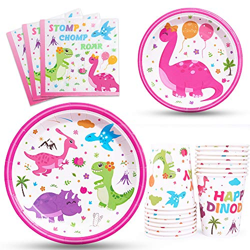 WERNNSAI Dinosaur Party Tableware Set - Dino Party Supplies for Girls Disposable Paper Luncheon Dinner Dessert Cake Plates Napkins Cups Baby Shower Birthday Party Dinnerware Kit Serves 16 Guests